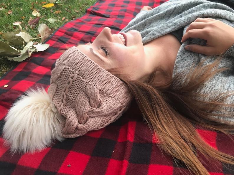 bdfb0af6020 Womens knit pom pom hat cable knit hat faux fur pom pom hat