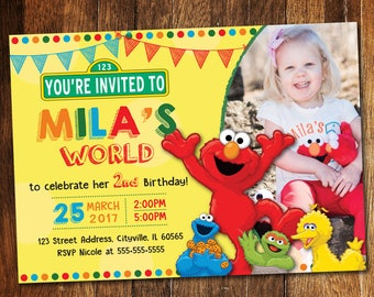 Elmo Invitation, Elmo Birthday Invitation, Sesame Street Invitation, Elmo's World Invite
