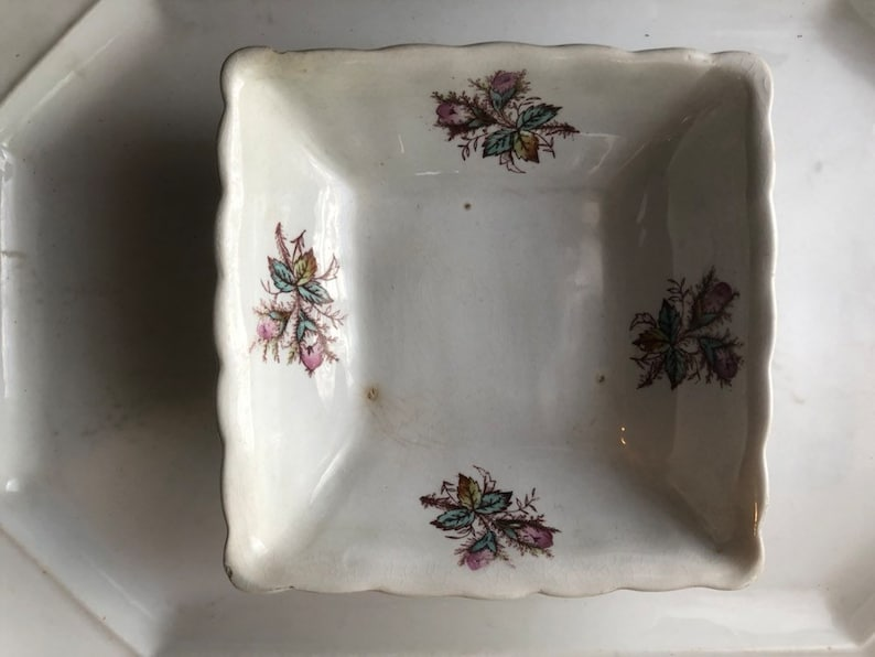 English ironstone marked square bowl with magenta and teal floral flat 4.00 ship