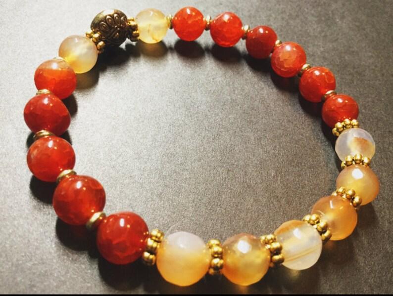 Fire Agate Peach Agate Beaded bracelets Jewelry Unisex Stretch Bracelets Boho Bohemian Stability Prosperity Wealth Protection Wellness Love