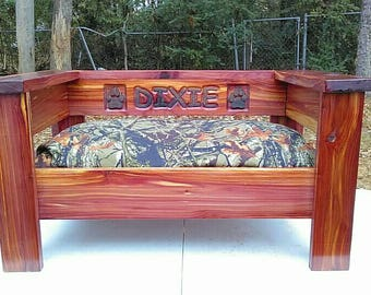 Cedar pet bed with custom personalized CNC headboard.