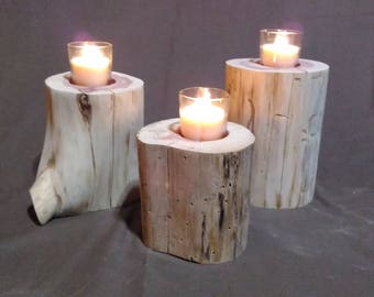 3 piece Natural Aromatic Cedar log Candle holder with candles