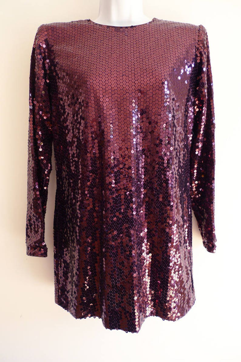17a5059b49e Yves Saint Laurent dark wine red sequin mini tunic dress | Etsy