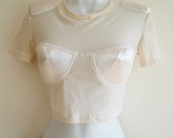 Ozbek oyster cream netting top with satin bust and shoulder pads