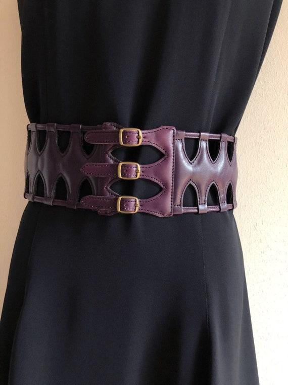 Azzedine Alaia three buckle wide latticed corset b