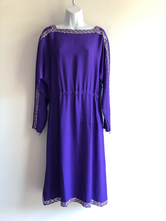 Madame Grès vintage 80s purple dress with sequins