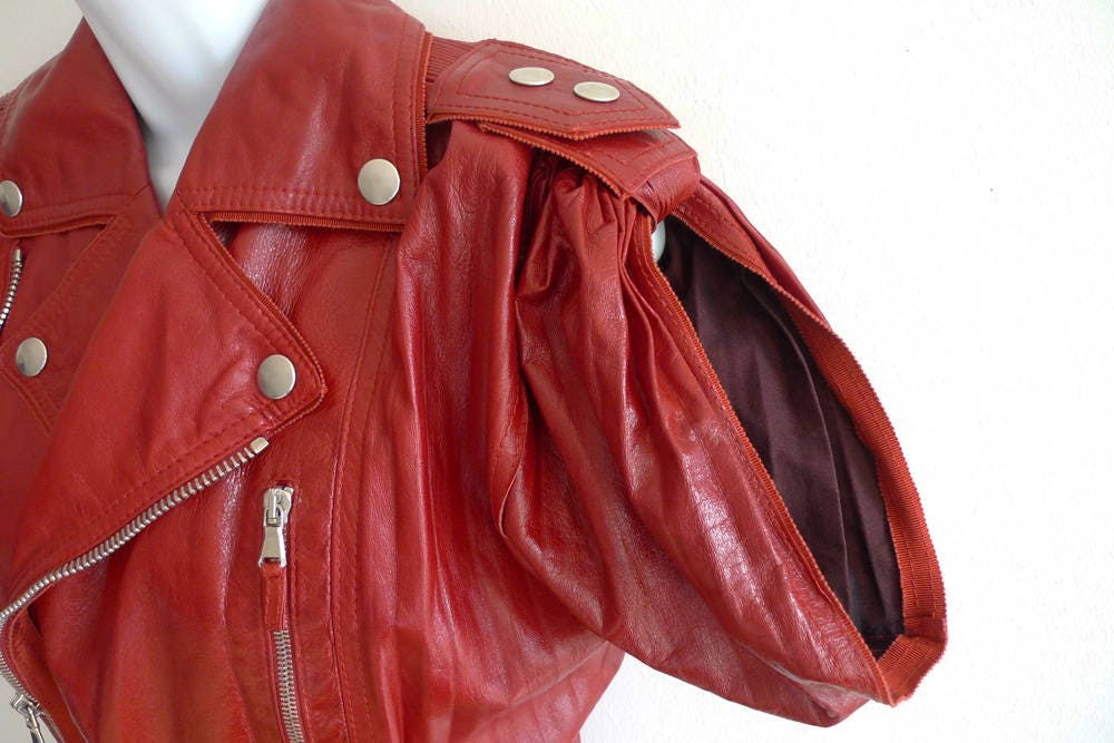 fefd77f56 Jean Paul Gaultier bomber jacket in a rich red leather with concertina  pleat finish