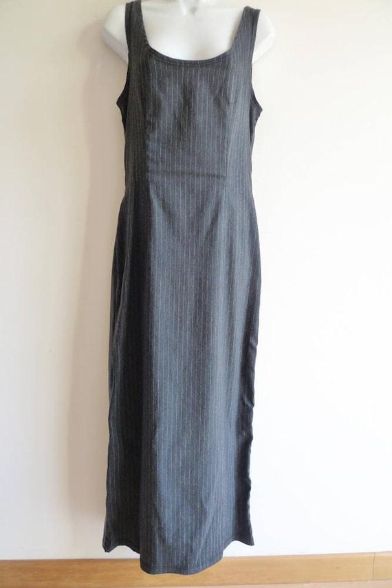 Junior Gaultier pinstripe and vinyl long dress