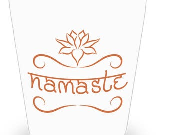 Namaste Gift/Namaste Shot Glass/Yoga Gift/Party Favor/Yoga Lover Gift/Gift for Yogi/Sanskrit Word Message/Ceramic Barware