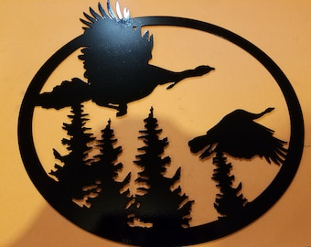 Plasma cut metal turkey picture wall art