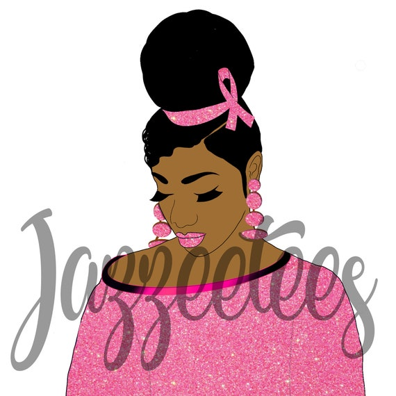 Breast Cancer Awareness African American Female Png Jpg Dye Etsy