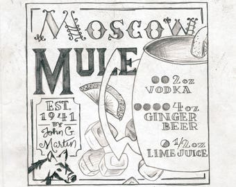 graphic about Moscow Mule Recipe Printable named Moscow mule artwork Etsy