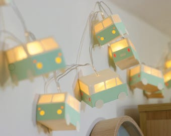 Paper string lights little buses made to order / optional colour(s)