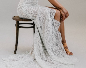 The Artesia • Geometric lace meets mocha lining on this unconventional wedding gown