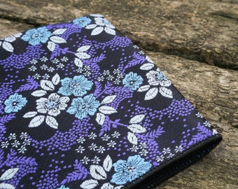 Blue and Purple Floral Pocket Square Hanky Handkerchief