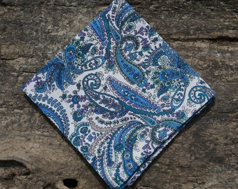 Blue and White Paisley Pocket Square Handkerchief Hanky Wedding Groomsmen Special Event
