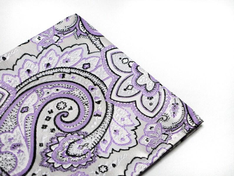 Dapper Style Pocket Square Purple Suit Accessories Hanky for Groom Men/'s Piasley Pattern Handkerchief