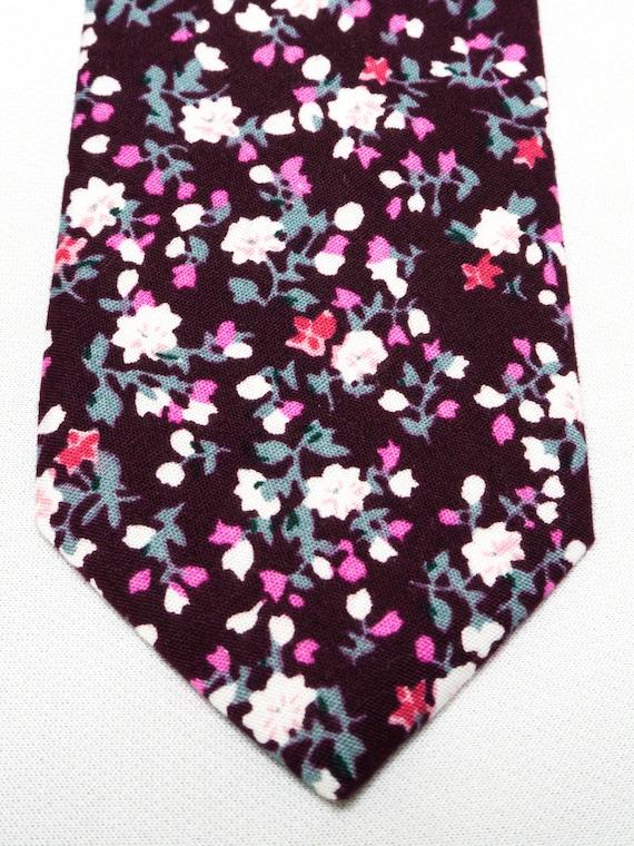 Groomsmen Gift Wedding Accessories Deep Purple Floral Skinny Tie