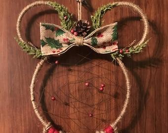 Minnie Mouse Dreamcatcher, Christmas Decor, Holiday Season, Dream Catcher