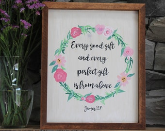 Every Perfect Gift is From Above   Wood Sign   Custom Sign   Calligraphy Sign   Home Decor   Room Decor   Wall Art