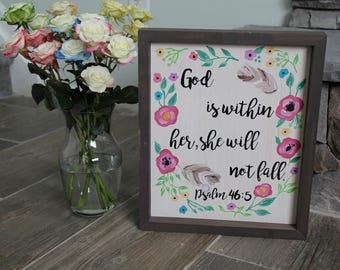 God Is Within Her, She Will Not Fall | Custom Wood Sign | Faith Wall Sign | Religious Quote | Biblical Sign | Christian Wall Art