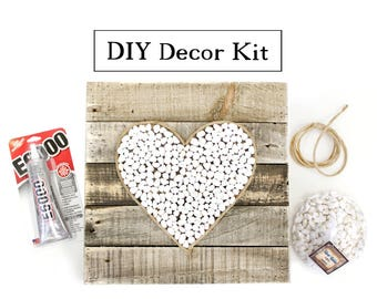 DIY River Rock Heart Mosaic Reclaimed Wood Pallet Sign Home Decor Kit