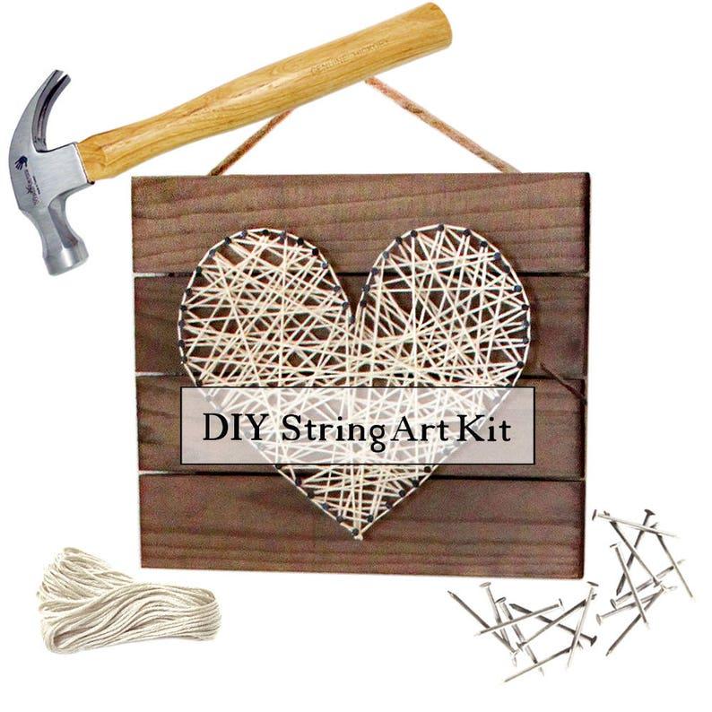 DIY Heart String Art Pallet Sign Home Decor Kit image 0