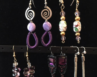 Earrings.Variety Shades of Purple.Dangle Earrings. Hand Made.