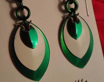 Green/White 3 Graduated Scale Earrings
