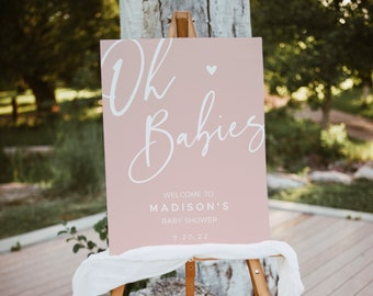 Blush Pink Oh Babies Shower Welcome Sign, Twin Baby Shower, Editable Baby Shower Welcome Sign, Girl Baby Shower, Welcome Sign #022MP