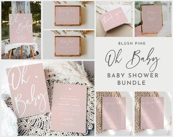 Blush Pink Oh Baby Shower Invitation Bundle, Girl Baby Shower Invites Pink, Printable Editable Invitation, Elegant Baby Shower #022MP