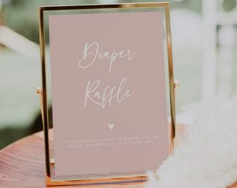 Diaper Raffle Printable, Baby Shower Diaper Raffle Sign, Minimalist, DIY Editable Template, INSTANT DOWNLOAD #022MP