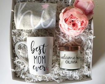 Welcome baby gift basket, new baby gift set, new baby gift basket, its a girl gift basket, mom to be gift set, mom to be gift basket