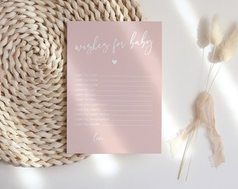 Blush Pink Baby Shower Wishes for Baby Game, Printable Blush Pink Baby Shower, Baby Shower Games #022MP