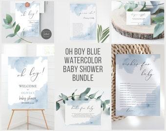 Oh Boy Baby Shower Invitation Bundle, Boy Baby Shower Invites Blue Watercolor, Printable Editable Invitation, Elegant Baby Shower #01BW