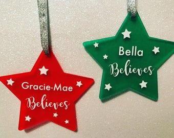 Personalised Christmas Stars Decorations