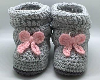 Crochet Baby Booties, Slouch Booties