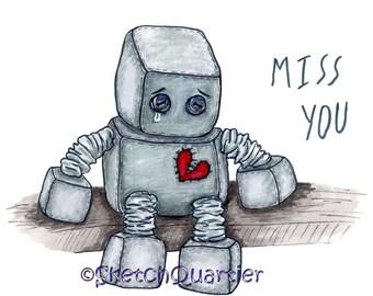 Sad Toy Robot digital clipart with transparent background for instant digital download.