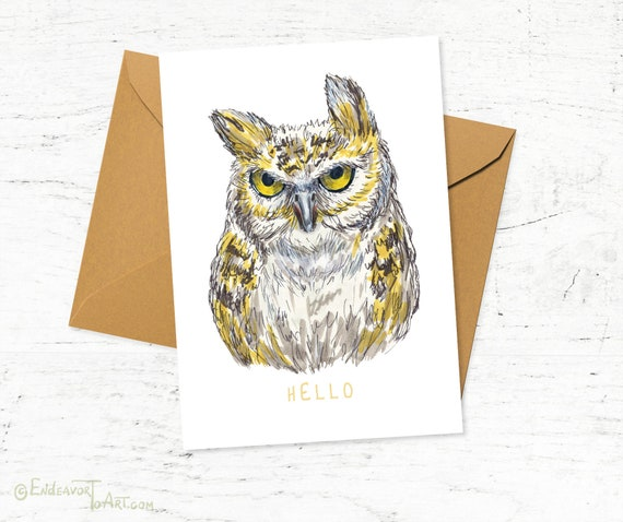Owl painted markers print greeting card bird greeting cards etsy image 0 m4hsunfo