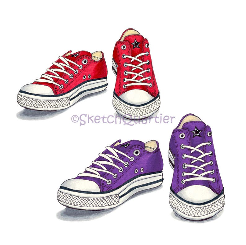 5ce913daf8df Red and Purple Converse Shoes digital clipart with transparent