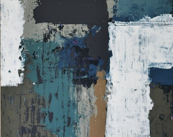 """Untitled November Painting No. 2   9"""" x 12"""" Cradled Birch Panel   Abstract Painting, Gray Teal White Wall Art, Home Decor, Contemporary Art"""