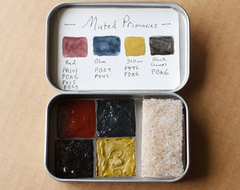 Muted Primaries Watercolors   4 1x1 inch metal pans in a travel tin, inorganic colors oxides, handmade paints lamp black red blue Gift Idea