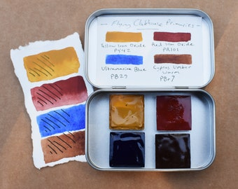 Primary Palette Watercolors   4 1x1 inch metal pans in a travel tin, inorganic single-pigment oxide umber handmade paints red blue Gift Idea