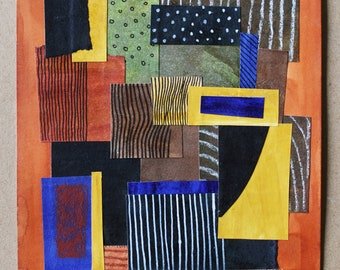 """Small Collage on Paper, 6""""x8""""   Mixed Media Collage Art Stripes Pattern Orange Black Blue Colors Affordable Decor Wall Abstract, Collage 1"""