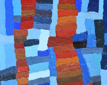 """Ladders Don't Compete, Oil on Canvas 11"""" x 14"""" Wall Art, Contemporary Home Decor, Modern Painting Red Orange Blue Impasto Texture"""