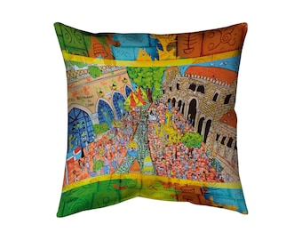 Big pillow (20'' x 20'') for Caribbean lovers! Santo Domingo, Zona Colonial, El Conde with concealed zipper and double sided print.