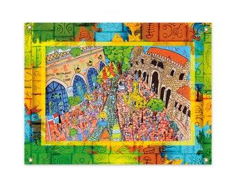 """Indoor-Outdoor wall tapestry  (26"""" x 36"""") for Caribbean lovers! Santo Domingo, Zona Colonial. Catedral Primada de America. El Conde."""