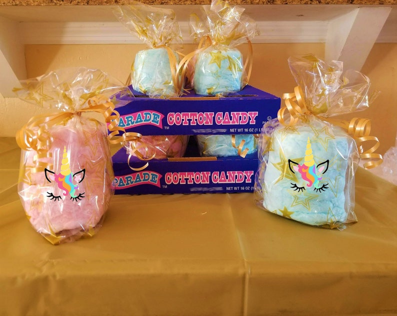 16 Unicorn Party Cotton Candy Favors Unicorn Birthday Etsy