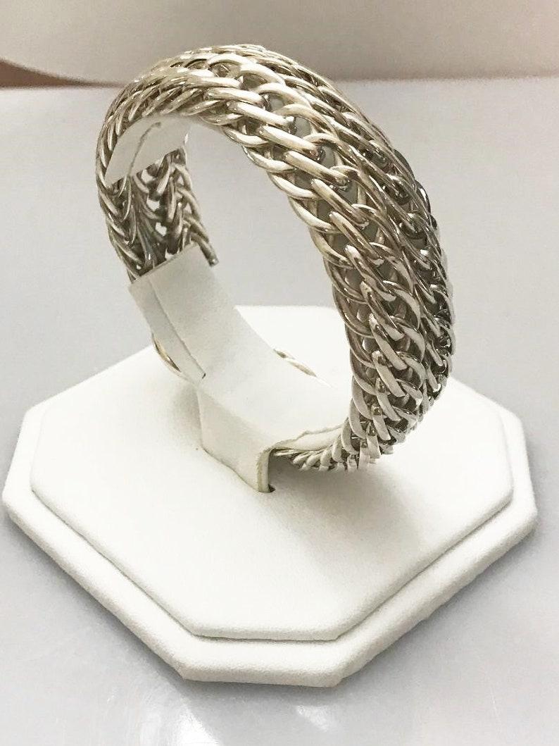 Sterling Silver .925 Flexible Woven Foxtail Bracelet 8 Long