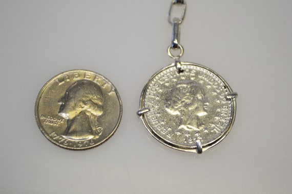 925 Sterling Silver 1913 Coin Key Chain Key Ring - image 3